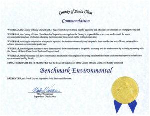 Benchmark, County Of Santa Clara Commendation